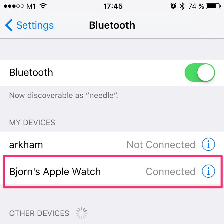 Bluetooth settings on an iPhone